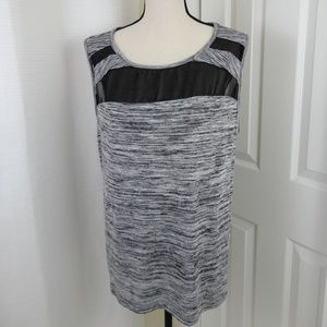 Ava & Viv Athletic Marled Mesh Gray Tank 1X